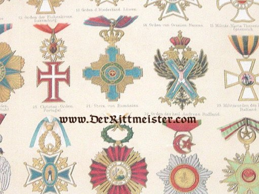 GERMANY - AWARD PAMPHLET - MATTED PAGE FROM ORDEN DER AUSSERDEUTSCHE STAATEN EUROPAS PLATE Nr 2 - Imperial German Military Antiques Sale