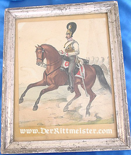 PRUSSIA - LITHOGRAPH - FRAMED COLOR - EARLY MOUNTED GARDE du CORPS OFFICER - Imperial German Military Antiques Sale