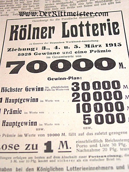 "GERMANY - NEWSPAPER - ""DIE FRAUEN FÜR SORGE"" - Imperial German Military Antiques Sale"