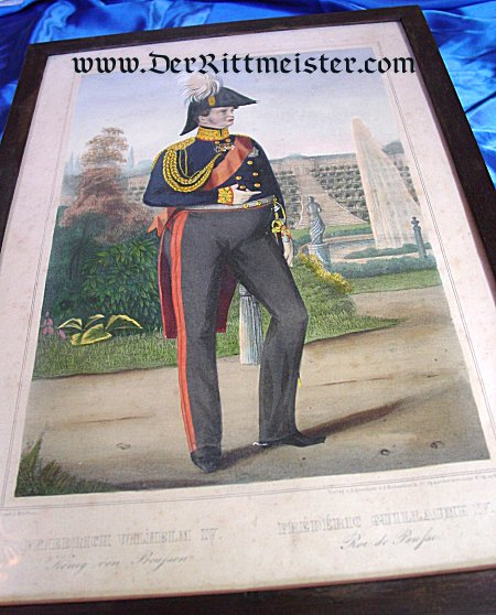 PRUSSIA - LITHOGRAPH - FRAMED COLOR - KING FRIEDRICH WILHELM IV - Imperial German Military Antiques Sale