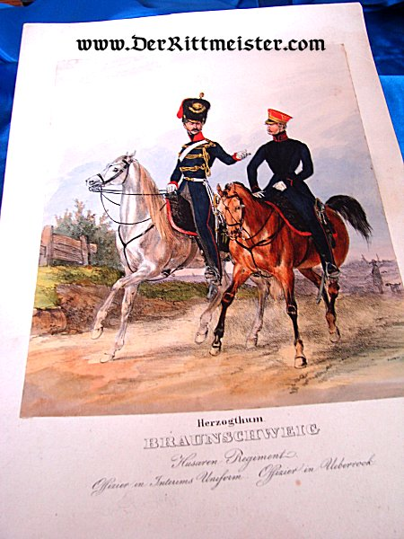 COLOR LITHOGRAPH - TWO OFFICERS - HUSAREN-REGIMENT Nr 17 - Imperial German Military Antiques Sale