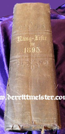 1895 RANGLISTE - PRUSSIAN ARMY - Imperial German Military Antiques Sale