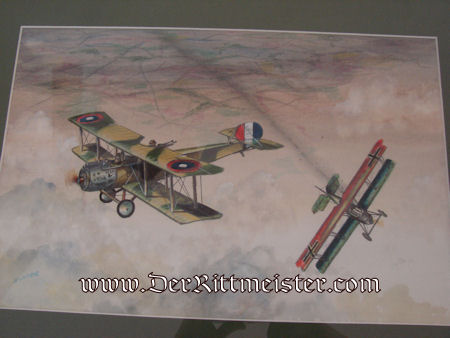 JACK D. HUNTER - ORIGINAL PAINTING - FEATURING U. S. SALMSON TWO-SEATER FENDING-OFF PFALZ D-XII'S ATTACK - Imperial German Military Antiques Sale