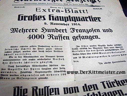 NEWSPAPER - NOVEMBER 1914 - WAR NEWS FROM SUPREME HEADQUARTERS - ACTION - TSINGTAU - Imperial German Military Antiques Sale