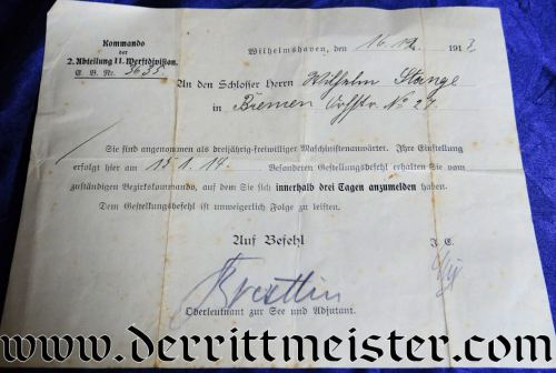 GERMANY - DOCUMENT APPROVING THREE-YEAR-ENLISTMENT IN THE KAISERLICHE MARINE - Imperial German Military Antiques Sale