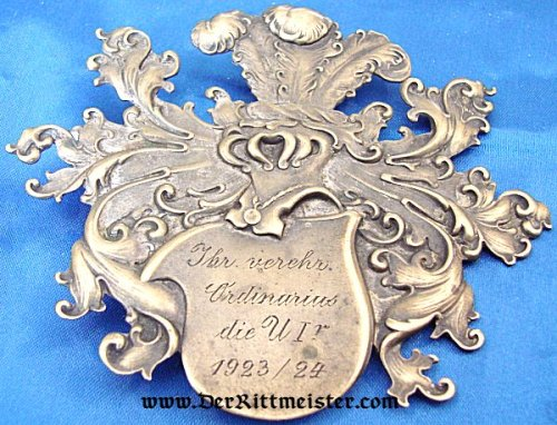 BARON'S SMALL METAL PLAQUE - COAT OF ARMS - Imperial German Military Antiques Sale