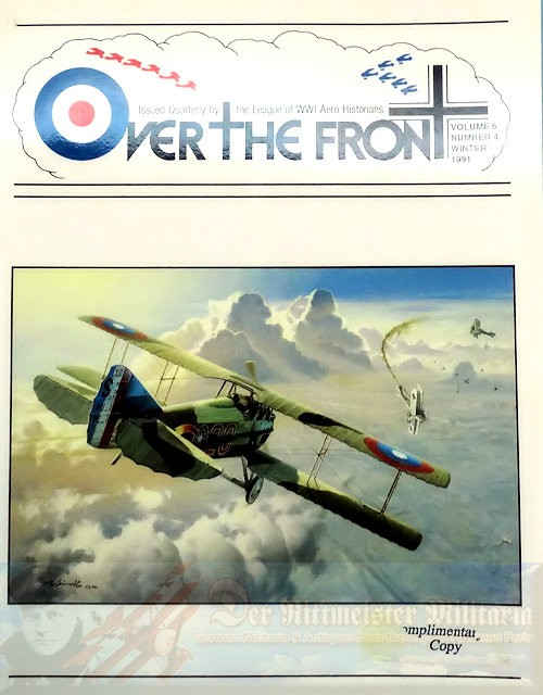 GERMANY - MAGAZINE - OVER THE FRONT: VOLUME 6, NUMBER 4 - LEAGUE OF WORLD WAR 1 AVIATION HISTORIANS - Imperial German Military Antiques Sale
