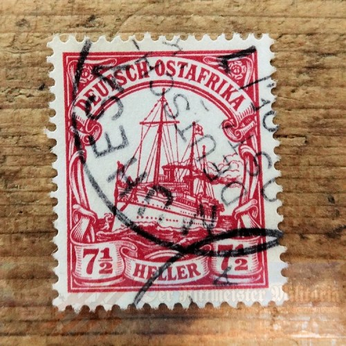 GERMANY EAST AFRICA - STAMP - 7 ½ HELLER - POSTMARKED MUHESA - Imperial German Military Antiques Sale