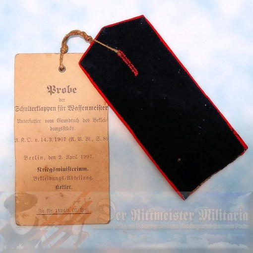 PRUSSIA - SHOULDER STRAP - WAFFENMEISTER - ARTILLERIE-REGIMENT - WAR MINISTRY PROTOTYPE TAG - Imperial German Military Antiques Sale