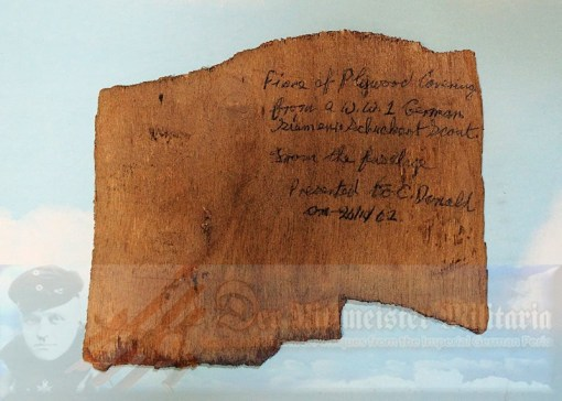 SIEMENS SCHUCKERT D. III OR D. IV AIRPLANE'S PLYWOOD. - Imperial German Military Antiques Sale