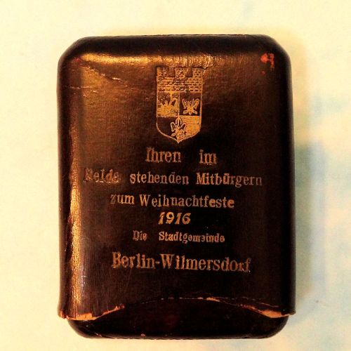 CIGAR CASE - PATRIOTIC CELEBRATING CHRISTMAS 1916 IN BERLIN-WILMERSDORF. - Imperial German Military Antiques Sale