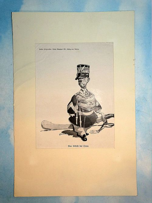 CARICATURE - KING VICTOR EMANUEL III - ITALY. - Imperial German Military Antiques Sale