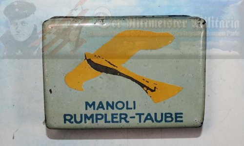CIGARETTE TIN - MANOLI RUMBLER-TAUBE - LARGE-SIZE FIFTY CIGARETTES