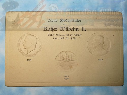 IMPERIAL GERMAN 4.5 MARK COIN IMPRESSION CARD - KAISER WILHELM II - Imperial German Military Antiques Sale