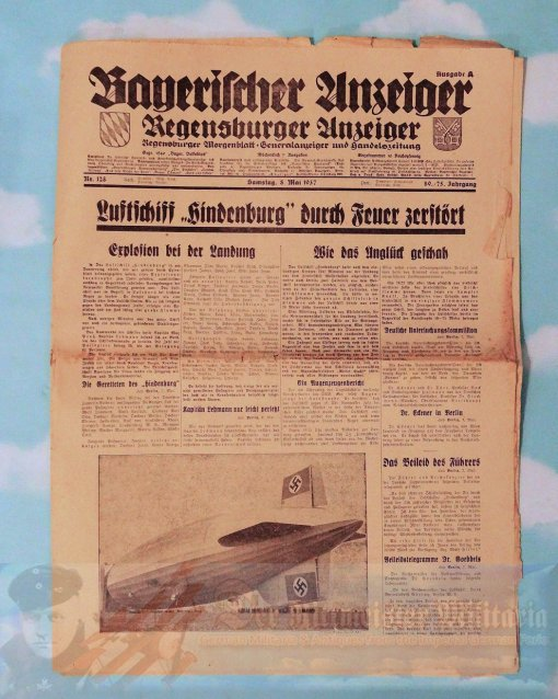 """NEWSPAPER - FEATURING THE CRASH OF THE ZEPPELIN """"HINDENBURG"""" - 8 MAY 1937"""