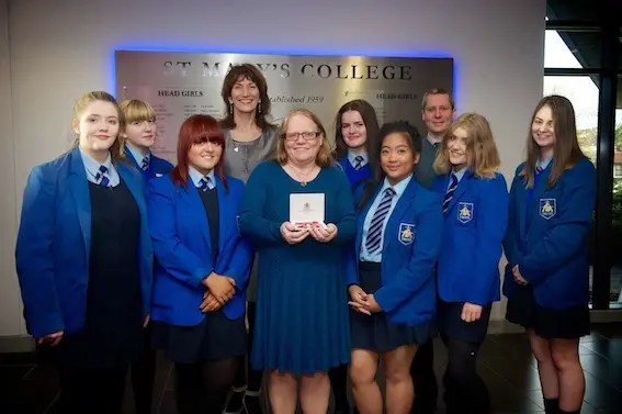 DELIGHT AT MARY'S COLLEGE AS TEACHER PICKS UP HER MBE ...