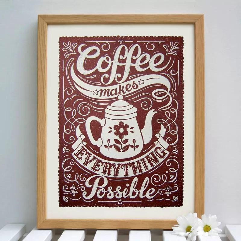 Natale 2017 - Idee regalo per amanti del caffè - Quadro lettering