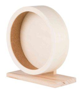 foto van een houten looprad met kurk loopvlak