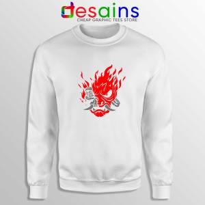 Samurai Demon Slim White Sweatshirt Cyberpunk 2077 Sweater