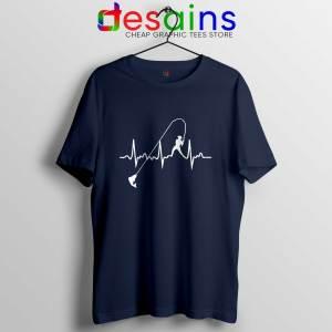 Fishing Heartbeat Navy Tshirt Cheap Fishing Graphic Tees Shirts