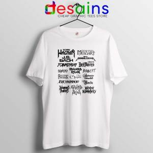 Heavy Metal Style Classical Composers White Tshirt Heavy Metal Tee Shirts