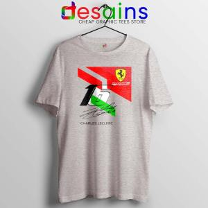 Charles Leclerc Signature Sport Grey Tshirt Driver Scuderia Ferrari Tees Shirts