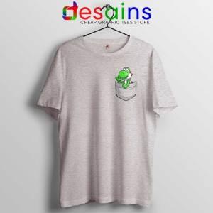 Pocket Yoshi Sport Grey Tshirt Super Mario Luigi Yoshi Tee Shirts