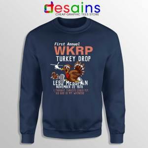 First Anual WKRP Turkey Drop Navy Sweatshirt Thanksgiving Sweater S-3XL