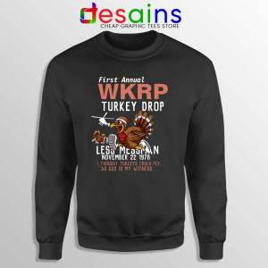 First Anual WKRP Turkey Drop Sweatshirt Thanksgiving Sweater S-3XL