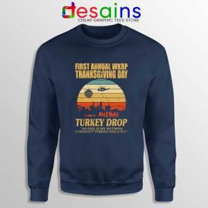 WKRP Thanksgiving Turkey Drop Navy Sweatshirt WKRP in Cincinnati Sweater