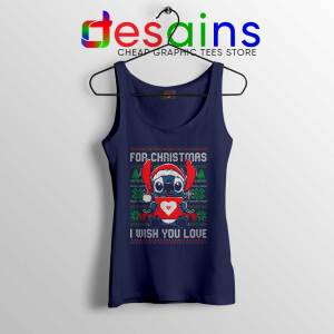 For Christmas I Wish You Love Navy Tank Top Stitch Ugly Tank Tops S-3XL