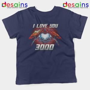 I Love You 3000 Endgame Kids Navy Tshirt Iron Man Youth Tees