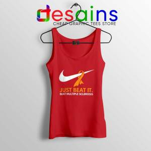 Just Beat it Red Tank Top Beat Multiple Sclerosis Amen with Gods