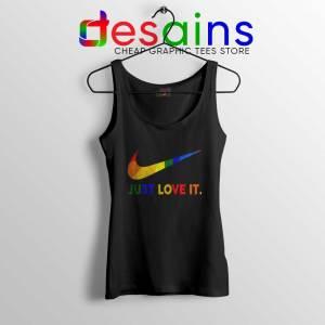 Just Love It LGBT Pride Black Tank Top Rainbow Lesbian Gay Tops