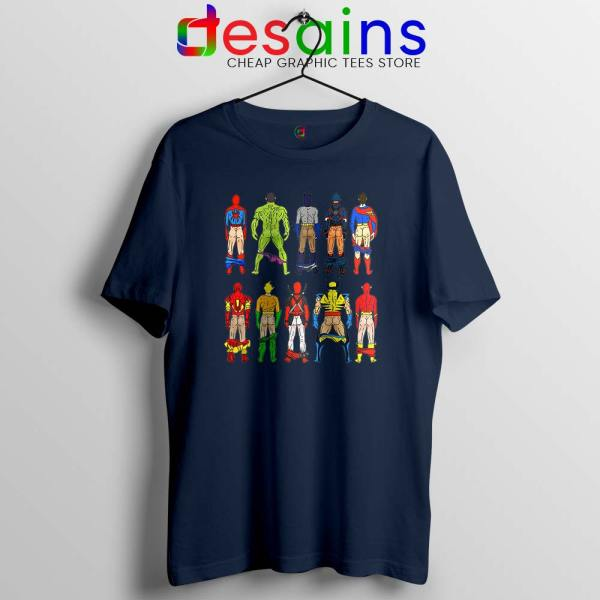 Superhero Butts Naked Navy Tshirt Funny Superhero Tee Shirts