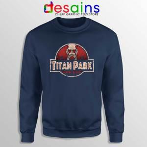 Titan Park Navy Sweatshirt Jurassic Park Attack on Titan Sweater