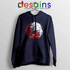 Dragon and Wolf Navy Hoodie Yin and Yang Hoodies S-2XL