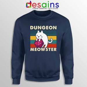 Dungeon Meowster DnD Navy Sweatshirt Cat Gamer D20 Sweater S-3XL