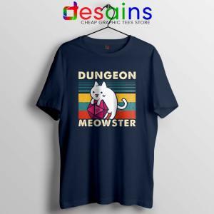Dungeon Meowster DnD Navy Tshirt Cat Gamer D20 Tee Shirts