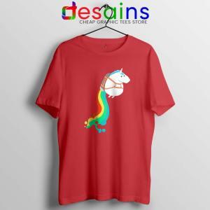 Funny Fat Unicorn Red Tshirt Unicorn on Rainbow Jetpack Tee Shirts