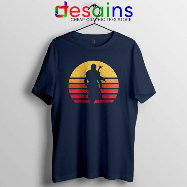 Mandalorian Retro Sun Rise Navy Tshirt The Mandalorian Tee Shirts