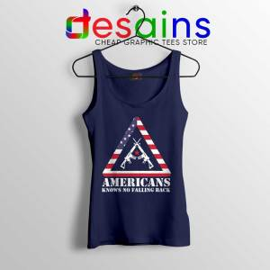 American Knows No Falling Back Navy Tank Top Independence Day Tops