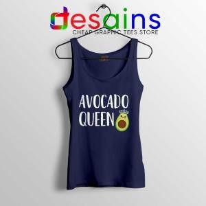 Avocado Queen Navy Tank Top Girls Funny Avocado Tops S-3XL