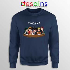 Best Anime Superheroes Navy Sweatshirt Friends Manga Sweaters