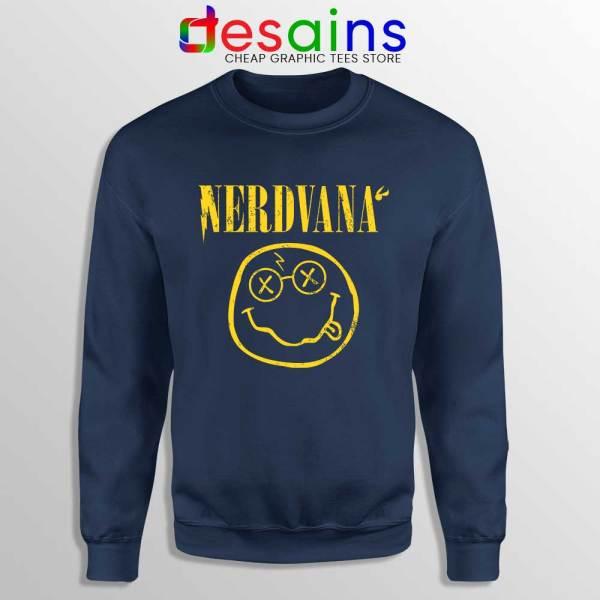 Nerdvana Smiley Navy Sweatshirt Nirvana Smiley Face Sweater
