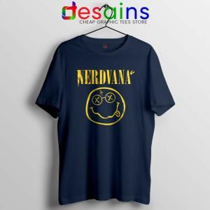 Nerdvana Smiley Navy Tshirt Nirvana Smiley Face Tee Shirts