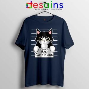 Bad Cattitude Cat Mug Shot Navy Tshirt Funny Cats Lovers Tees