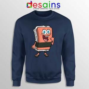 SpamBob Square Navy Sweatshirt Funny Spam Musubi Sweaters