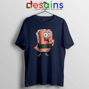 SpamBob Square Navy Tshirt Funny Spam Musubi Tees