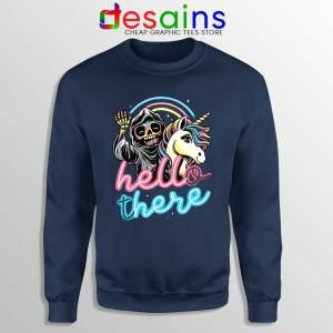 Hello There Unicorn Navy Sweatshirt Halloween Skeleton Sweaters